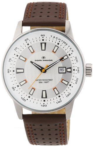 TOM TAILOR Herren-Armbanduhr XL Analog Quarz Leder 5411503