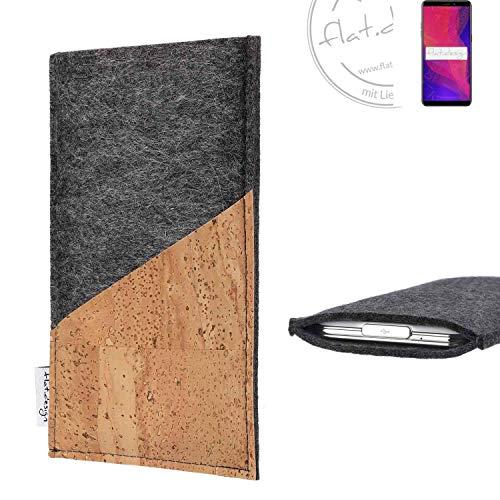 flat.design Handy Hülle Evora für Ulefone Power 3L handgefertigte Handytasche Kork Filz Tasche Hülle fair dunkelgrau
