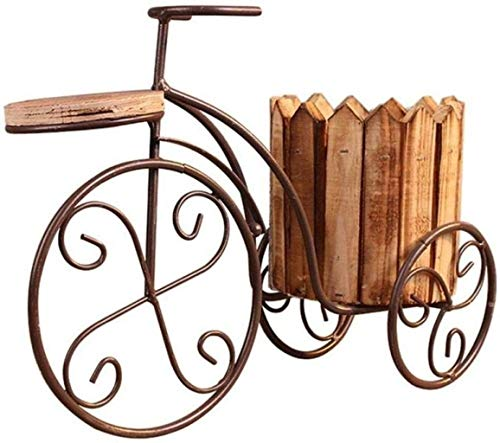 WQQLQX Statue Eisen Fahrrad Holz Sukkulenten Blumentopf Saftige Kleiner Topf Einfache Nordic-Art-Haus Dekoration Green Plant-2Pcs-Fahrrad-Modelle Skulpturen (Color : Bicycle Models)