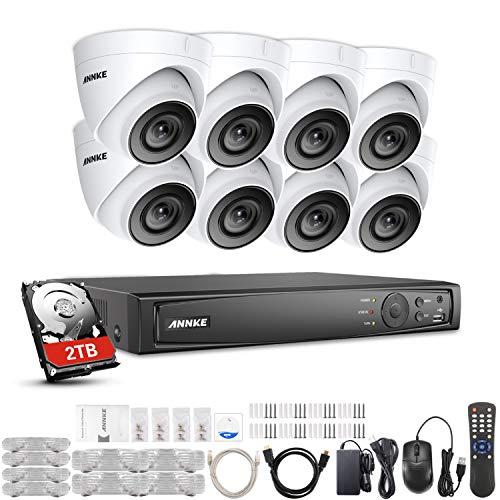 ANNKE Überwachungskamera Set aussen mit 8 x 1080P PoE Bullet IP Kameras, 8 CH/Kanal NVR Überwachungssystem mit 2TB Festplatte für Hause innen Outdoor mit Nachtsicht Bewegungserkennung,Fernansicht