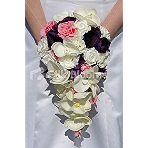 Silk Blooms Ltd Ivory Pink & Purple Rose Orchid & Anemone Bridal Wedding Bouquet