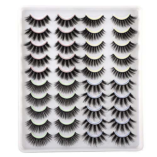 20 Pairs False Eyelashes 4 Styles Mixed Fluffy Cat-Eye Wispy Lashes ALPHONSE 3D Volume Luxurious Faux Mink Eyelashes Pack
