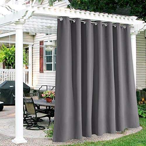 RYB HOME Outdoor Curtains 120 inches Long, Waterproof Thermal Insulated Patio Curtains for Light Block Energy Saving, Weather Resistant for Balcony Pergola Porch, W 100 x L 120, 1 Panel, Gray