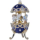 Keren Kopal Carousel Horse Music Box With White Horses figurines Wind Up Musical Handmade Amazing Home Decoration