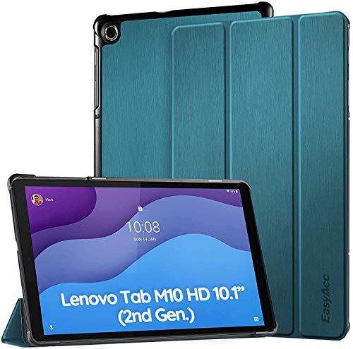 EasyAcc Funda Compatible con Lenovo Tab M10 HD (2ª generación) 10.1 Pulgadas – Ultra Fina Funda con función de Encendido y Apagado automático – Azul Pavo Real