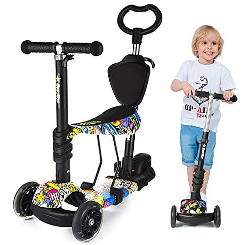 Monopattini per bambini con aste di spinta,Monopattino a 3 ruote con lampeggianti a LED , 3 manubri regolabili in altezza, Monopattino bambino 2-10 anni ragazzi e ragazze
