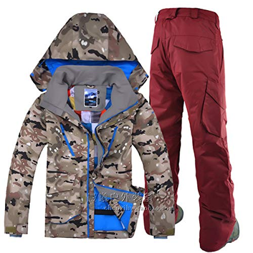KUNHAN Heren ski jas Heren ski wear Sport Camo Ski Jas Rits Winddicht Ademend Ski Suit Heren Dubbele Enkele Plaat Ski Suit