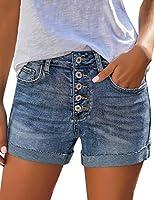 luvamia Women's Casual Denim Shorts Frayed Raw Hem Ripped Jeans Shorts