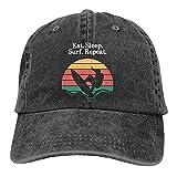 Yearinspace Eat Sleep Surf Repeat Retro Colores Surfero Gorra De Béisbol Lavado Denim Ajustable Papá Sombrero