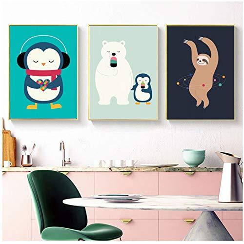 Jin Yi Global Canvas Cartoon Animal Schilderij PicturesNordic Style Modern Home Decor Wall Art Prints Poster Voor Babykamer