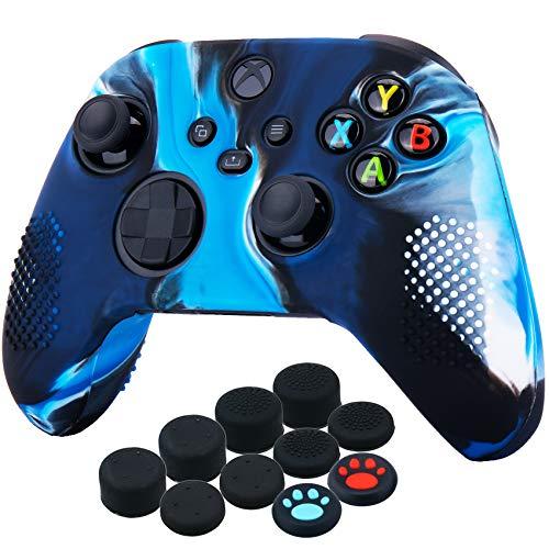 YoRHa Silicona Funda Piel Carcasas Cubierta para Xbox Series X/S Mando x 1 (Azul Camuflaje) con Agarres para el Pulgar x 10