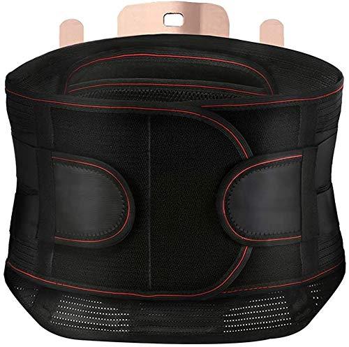 HJWL Faja Lumbar Unisex,Cinturón de Soporte Lumbar con Almohadilla Emisora de Calor Respirable Reemplazable Doble Ajuste para el Alivio del Dolor de Espalda Baja y la prevención de Lesiones(L)