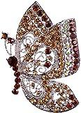 Chest button jewelry JT- Broche de boda vintage de diamantes de imitación de cristal mariposa insecto chapado en plata broche – marrón fino