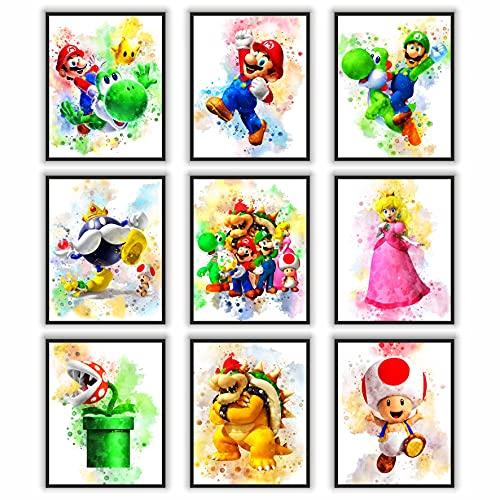 PoyBux Design - Super Mario Game Watercolor Poster Prints, Super Mario Wall Decor For Kids, UNFRAMED...