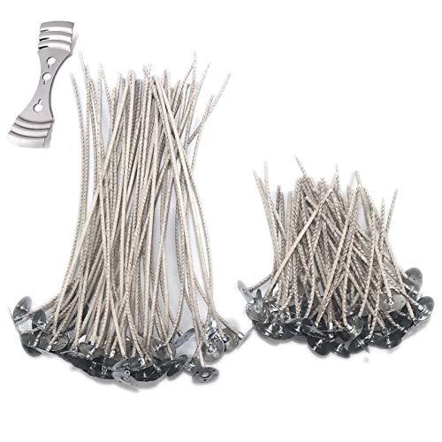 Tiruiya - Stoppini per candele in fibra di soia biologica pre-cerata, con 1 supporto per stoppino in acciaio inox, per candele fai da te (50 pezzi x 10 cm + 50 stoppini da 20 cm + supporto)