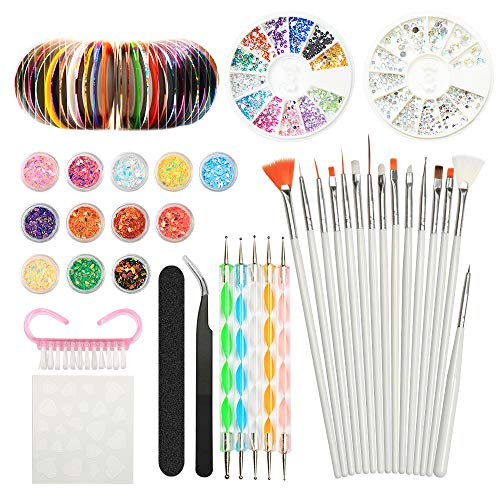 Nail Art Design Set Kit Pennelli Decorazioni Adesivi Nastro Decorazioni Strass, YZPUSI...