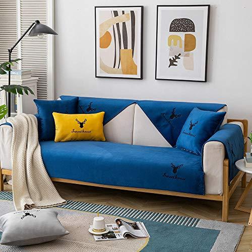 Homeen Hotel Protector para Sofás Cubiertas Delgadas de cojín de sofá de Felpa,Tirar sofá Bordado,Cubierta de Protector de sofá Antideslizante nórdico Moderno-Azul Oscuro_90 * 70 cm