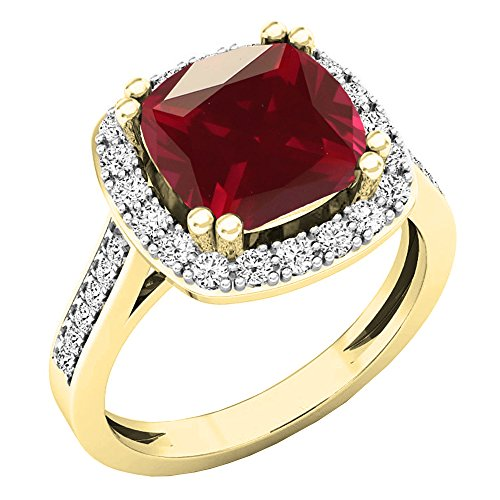 Dazzlingrock Collection 10K 9X9 MM Cushion Lab Created Ruby & Round Diamond Engagement Ring, Yellow Gold, Size 8