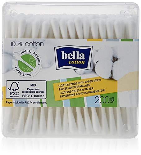 Bella Cotton Cotons-tiges avec tige en papier dans une boîte pratique.