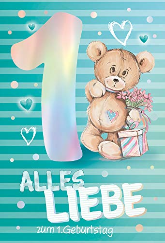 KE - Geburtstagskarte für Kinder - 1. Geburtstag - Karte zum Kindergeburtstag - Karte ohne Innentext - DIN B6 - Klappkarte inkl. Umschlag