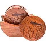 Coasters For Wooden Table, 100% Natural Wooden Coasters For Drinks, Handmade Drink Coasters With Holder, Wood Coasters With Lip, Wooden Coaster Set, Table Coasters For Drinks | 7 Pcs, Bird