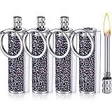 4 Pieces Permanent Match Lighter Metal Keychain Flint Match Stick Permanent...