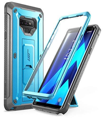 SUPCASE - Cover per Samsung Note 9, resistente, antiurto, con clip per cintura, protezione schermo integrata, cavalletto [Unicorn Beetle Pro] per Samsung Galaxy Note 9 2018 (blu)
