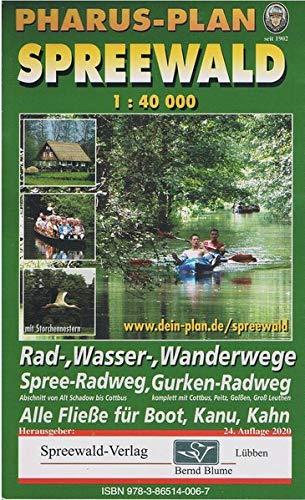 Pharus-Plan Spreewald 1:40.000: Rad-, Wasser-, Wanderwege. Spree-Radweg, Gurken-Radweg. Alle Fließe für Boot, Kanu, Kahn