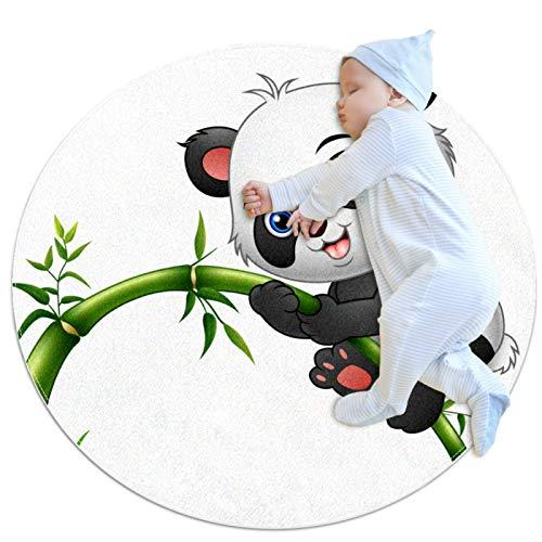 Matte Kinder Panda Bambus Teppich fürs Wohnzimmer Schlafzimmer Esszimmer Kinderzimmer Garten Dekorativer Teppich 70x70cm