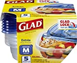 GladWare Entrée Food Storage Containers, Medium Square Holds 25 Ounces of Food, 5 Count Set