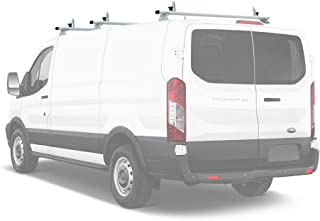 AA-Racks Model AX312-TR Transit 2015-On Aluminum 3 Bar Van Roof Rack System Ladder Stopper White