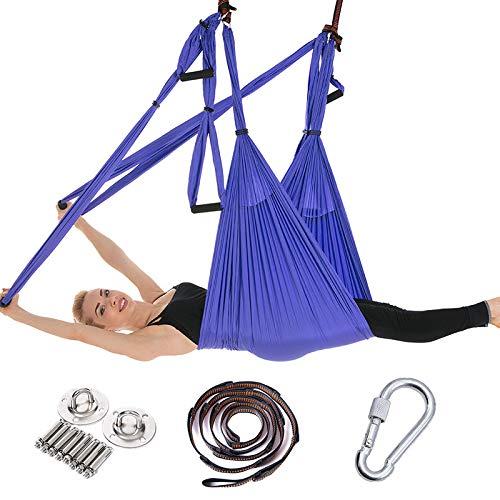 FLY FLU Aerial Yoga Hammock, Yoga Hammock/Harness/Sling Set, Air Yoga Swing Set, Anti-gravity Ceiling Yoga Sling, Inversion Swing For Professional Equipment, Purple,K