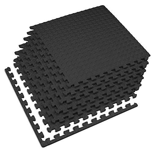 Velotas - Alfombrilla de espuma para deporte en forma de puzle, 24 Sq Ft (6 Tiles), Negro
