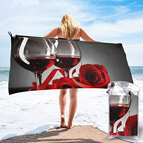 Beach Towels Vino tinto Rosa y vela Toalla ligera de secado rápido Toalla súper absorbente sin arena para viajes, natación, gimnasio, yoga 140X70CM
