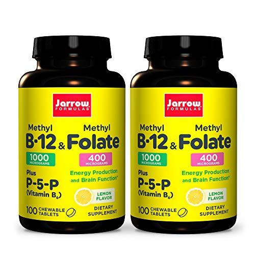 Jarrow Formulas Methyl B-12 & Methyl Folate - 100 Chewable Tablets, Lemon - Pack of 2 - Bioactive Vitamin B12 & B9 - Supports Energy Production, Brain Function & Metabolism - 200 Total Servings