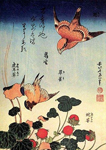 Das Museum Outlet–Hokusai–Wild Strawberries und Vögel, gespannte Leinwand Galerie verpackt. 40,6x 50,8cm