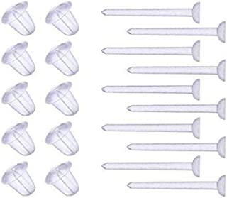 AISHNE Clear Plastic Ear Piercing Retainers - 10 Pairs