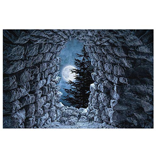Night Sky Dark Gothic Decor Cave with The Light of Full Moon At Scary Horror Medieval Gothic Theme A