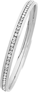 Bevilles White Stainless Steel Channel Crystal Bangle SBG-740