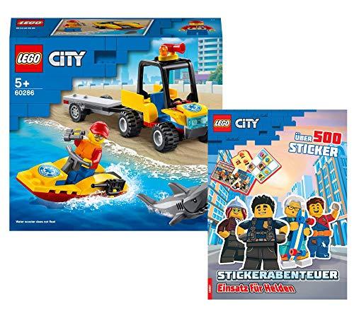 Collectix Lego City Set – Quad de rescate de playa 60286 + pegatina de aventura de Lego City para héroes (cubierta blanda)