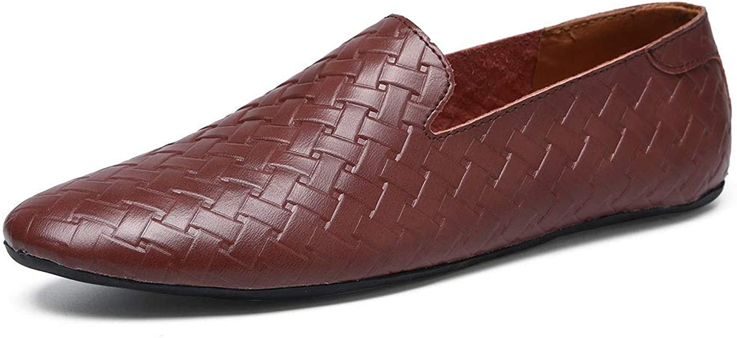 Easy Go Shopping Driving Loafer Men Boat Moccasins Slip On OX Leather Simple Woven Texture Cricket shoes (color   Wine, Size   6.5 UK)
