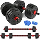 IRIS Fitness 20kgs Adjustable Dumbbell Barbell Set With Connecting Rod, Plates and Collars for Personal Home Gym Fitness Workouts and Strength Training, Non-Slip Handle Grips