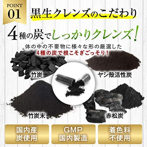 炭ダイエットサプリチャコール竹炭とコンブチャの黒生クレンズ30日分
