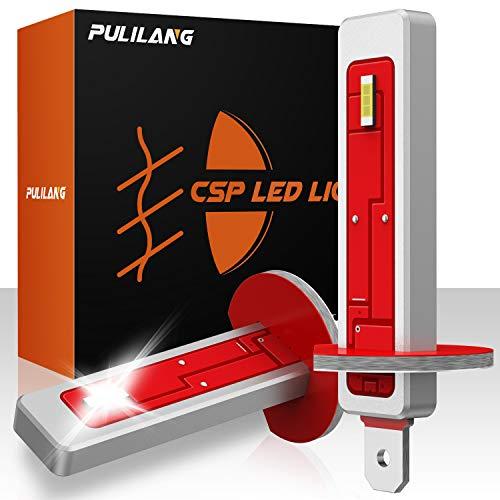 Pulilang Feux Anti brouillard Auto LED H1 CSP Feux de Brouillard DRL Voiture Ampoules LED Antibrouillard Kit,12V-24V 5000LM 6000K Blanc 2 lampes