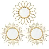 3 Pack Gold Mirrors for Wall Metal Sunburst Wall Mirrors Home Décor Decorative Hanging Wall Art for Living Room Bedroom Entryway