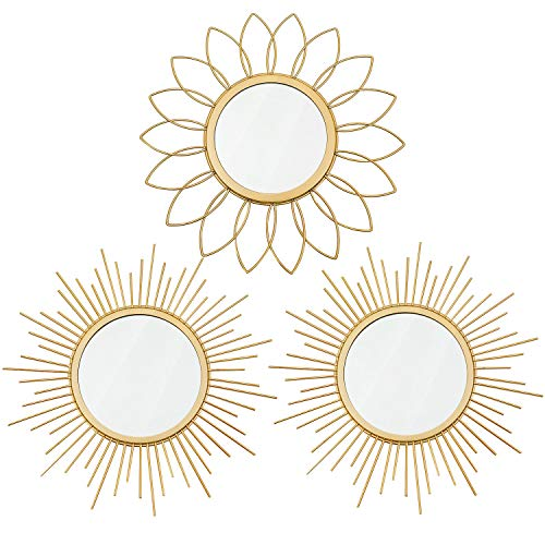 3 Pack Gold Mirrors for Wall Metal Sunburst Wall...