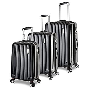 TravelCross Berkeley Luggage 3 Piece Lightweight Spinner Set - Black