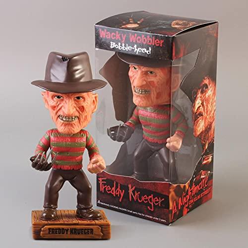 Geyang The Nightmare Before Christmas Jack Skellington/Freddy Krueger Bobble Head Doll Pvc Figura de acción de juguete Freddy