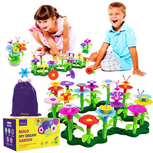 Limmys-Costruisci Giardino dei sogni-105 Pezzi- Giocattolo educativo STEM-Gioco per Bambine dai 3 Anni in su-Include Borsa per Giocattoli Velluto-Costruzioni Bambina Femmina- Costruzioni Fiori