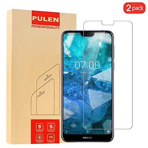 PULEN [2 Pack] Nokia7.1 Panzerglas Schutzfolie, 9H Hartglas Glas Bildschirm schutzfolie [Anti-Kratzen] [Bubble-frei][Fingerabdruck-frei] HD Klar Blasenfreie Folie für for Nokia7.1